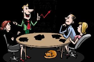 mensen tijdens een bedrijfsvergadering
